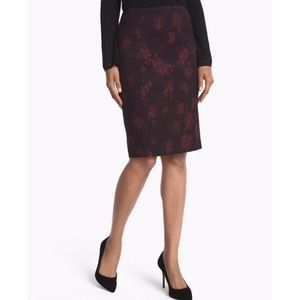 WHBM Rose Jacquard Pencil Skirt